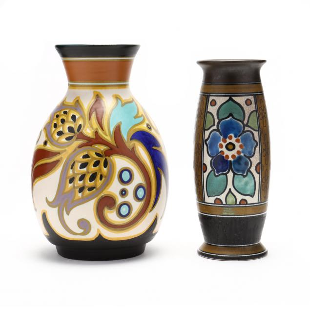 two-gouda-art-deco-pottery-vases