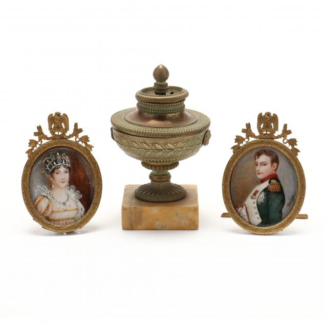antique-miniature-portraits-of-napoleon-and-josephine-with-incense-burner