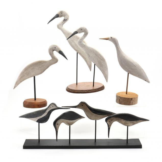 group-of-carved-and-painted-shorebirds