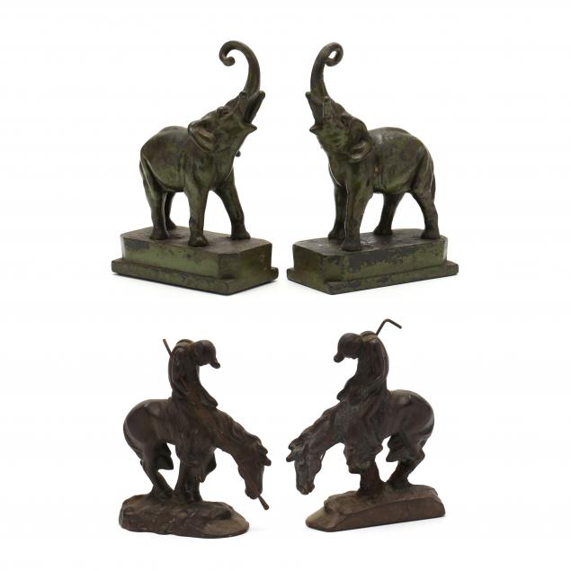 two-sets-of-vintage-figural-bookends