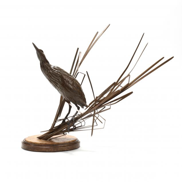 chester-comstock-colorado-20th-21st-century-life-size-heron-fishing-in-reeds