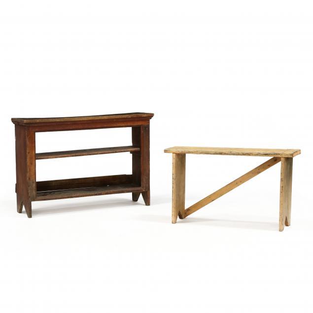antique-primitive-bench-and-storage-shelf