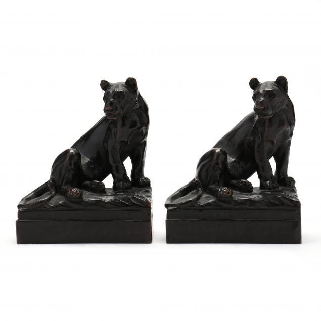 pair-of-bronze-lioness-bookends