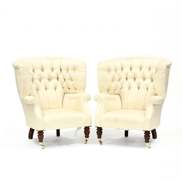 baker-pair-of-barrel-back-silk-upholstered-club-chairs