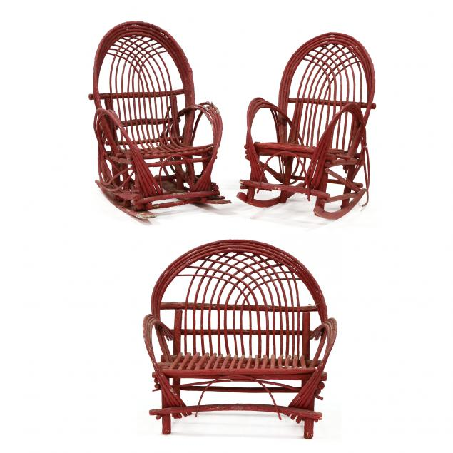 three-piece-twig-furniture-set-red-painted