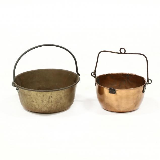 two-antique-metal-cook-pots