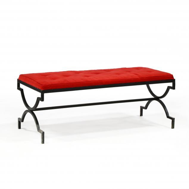 hollywood-regency-upholstered-iron-bench