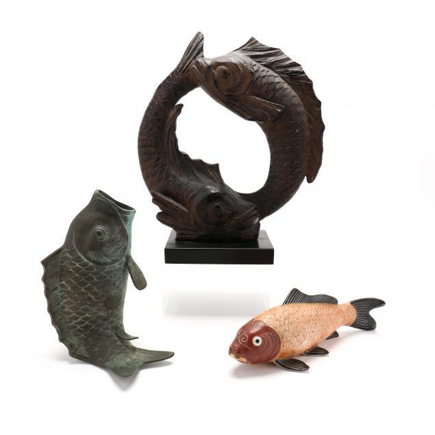 three-decorative-fish-sculptures