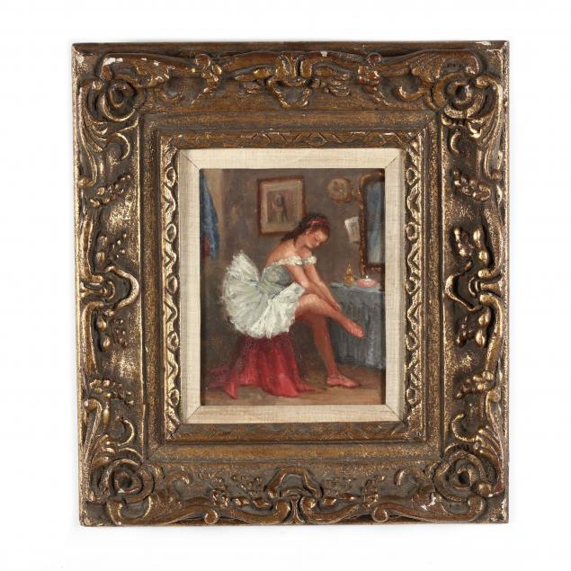 a-vintage-painting-of-a-ballerina-in-a-hand-carved-frame