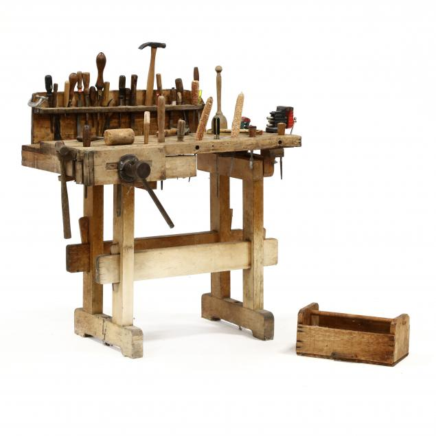fred-h-craver-s-nc-1908-1993-small-vintage-work-bench-with-tools