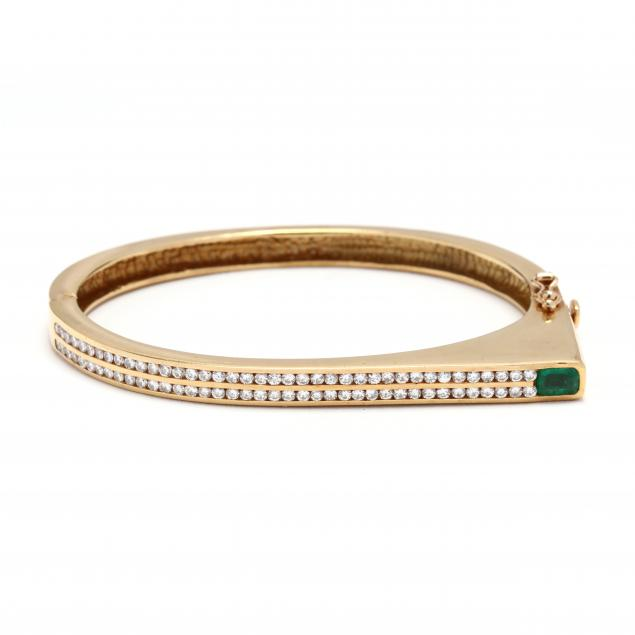 modernist-18kt-gold-gem-set-bangle-bracelet
