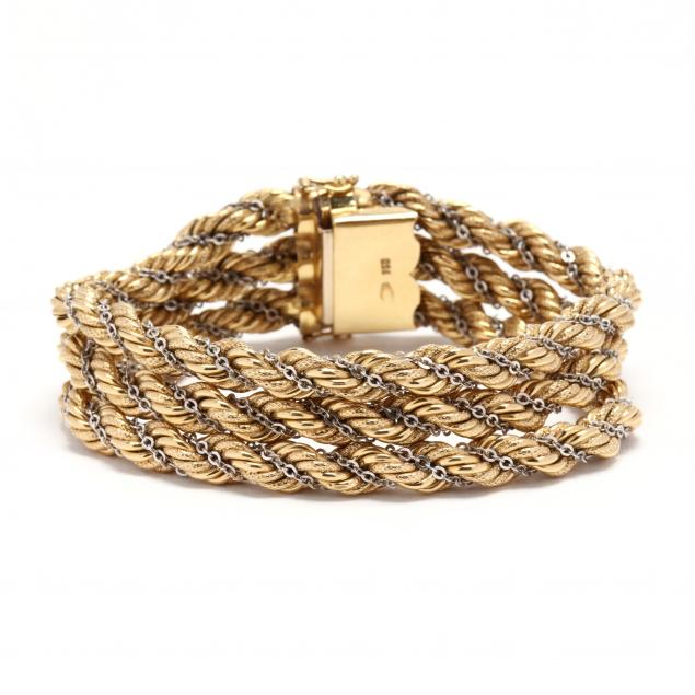 18kt-bi-color-gold-rope-bracelet