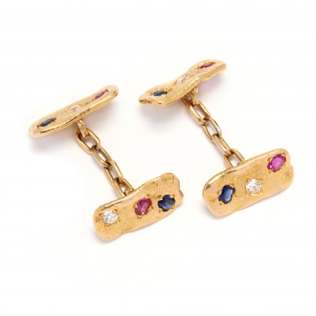 18kt-gold-ruby-sapphire-and-diamond-cufflinks