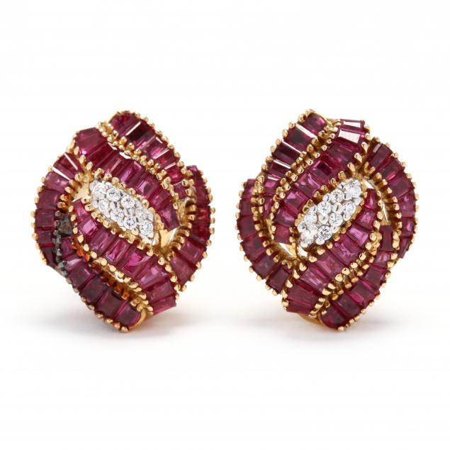 18kt-gold-ruby-and-diamond-earrings
