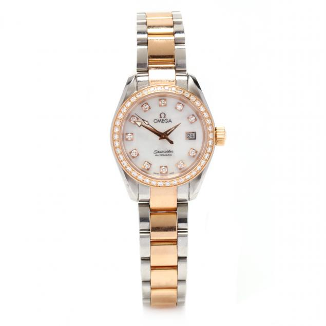 lady-s-rose-gold-and-stainless-steel-seamaster-aqua-terra-watch-omega