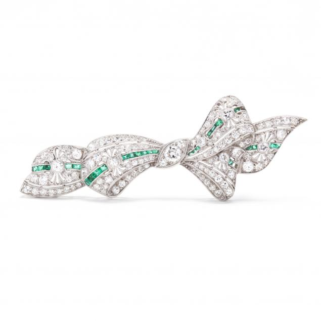 platinum-diamond-and-emerald-brooch