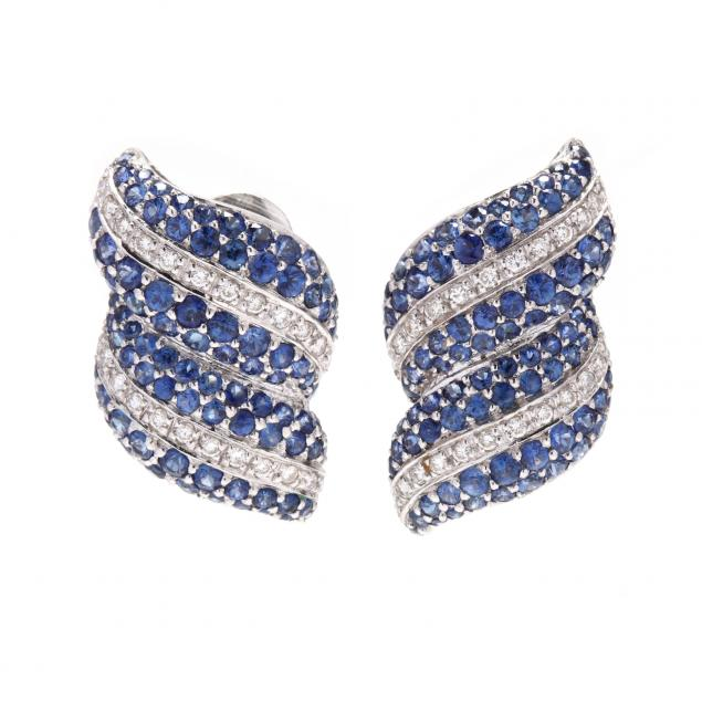 18kt-white-gold-sapphire-and-diamond-earrings