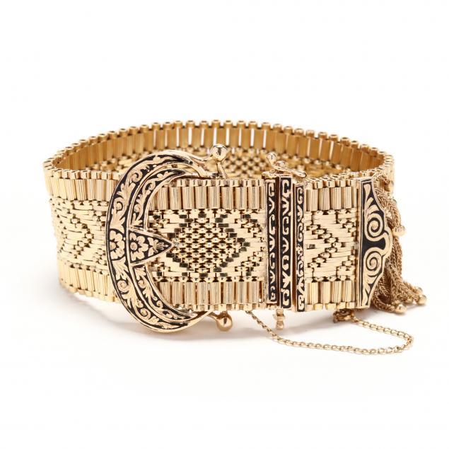 14kt-gold-and-enamel-hidden-watch-bracelet