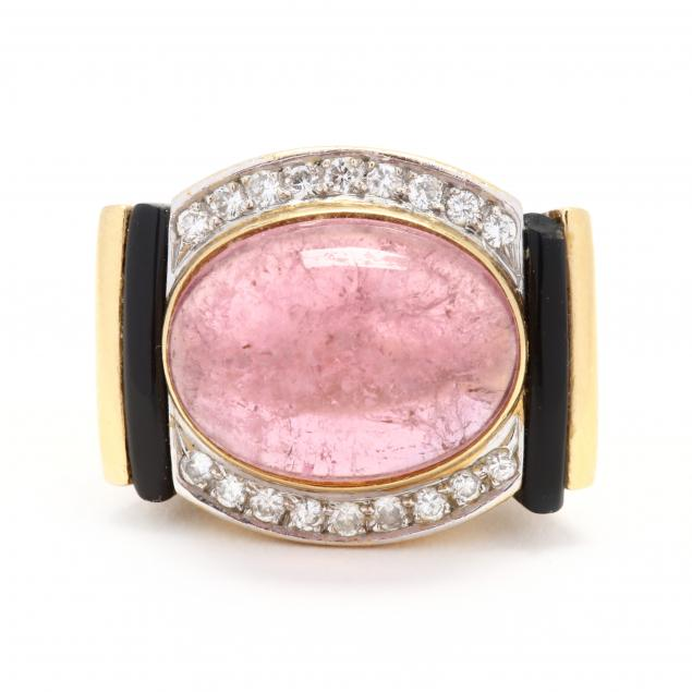 18kt-gold-pink-tourmaline-and-gem-set-ring