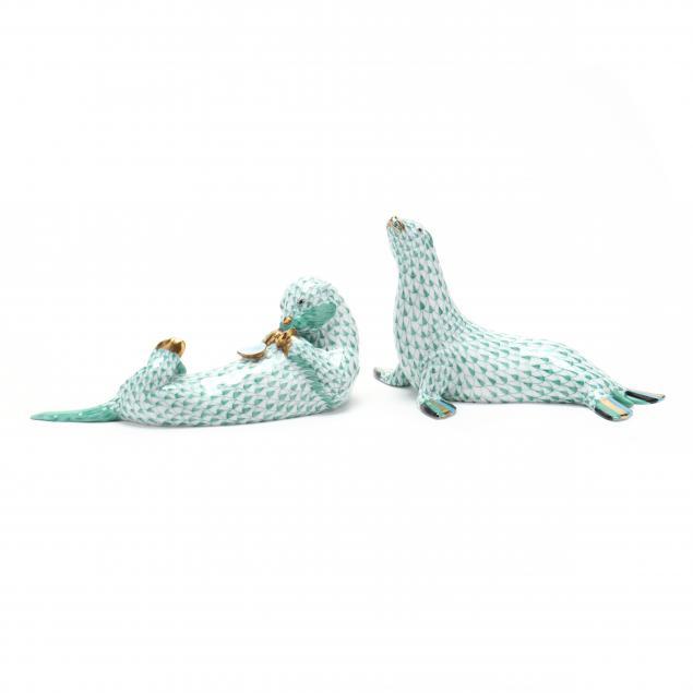 two-herend-porcelain-aquatic-mammals