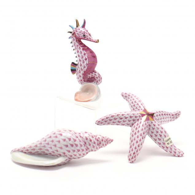 three-herend-porcelain-creatures-of-the-sea