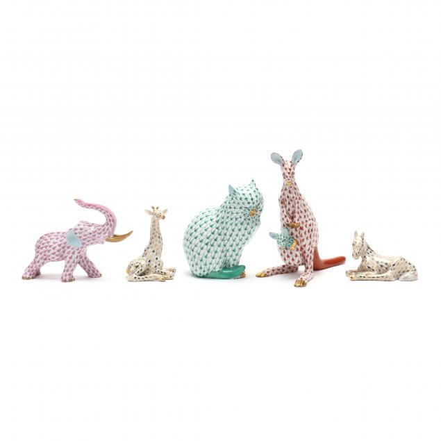 a-group-of-five-herend-porcelain-animals