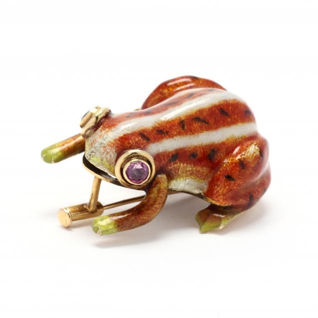 14kt-enamel-and-pink-sapphire-frog-brooch