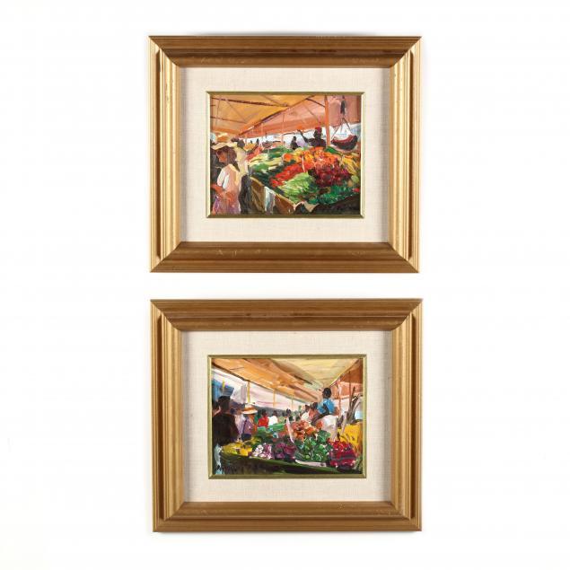 james-p-kerr-nc-fl-b-1953-a-pair-of-market-scenes