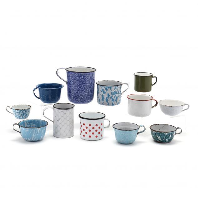 twelve-assorted-graniteware-cups-and-mugs