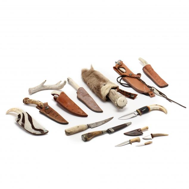 fifteen-knives-with-bone-or-antler-handles