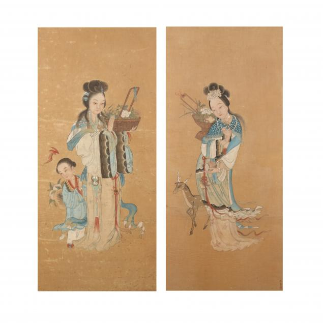 a-pair-of-chinese-paintings-of-the-goddess-magu