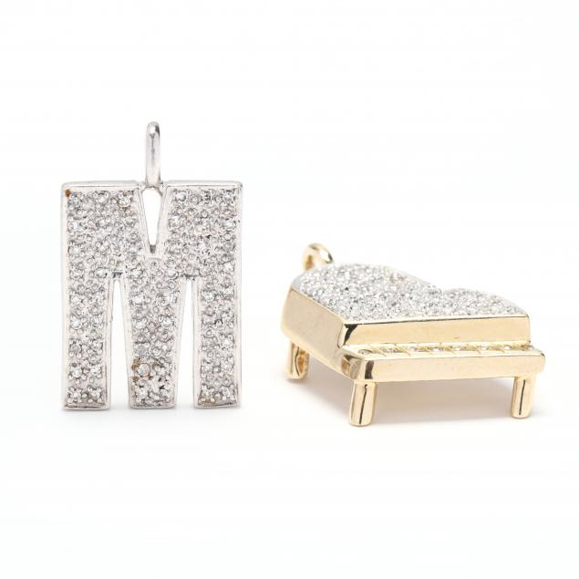 two-14kt-gold-and-diamond-set-charms