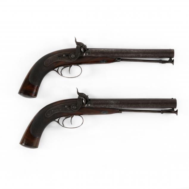 cased-pair-of-english-double-barrel-percussion-dueling-pistols-by-william-parker