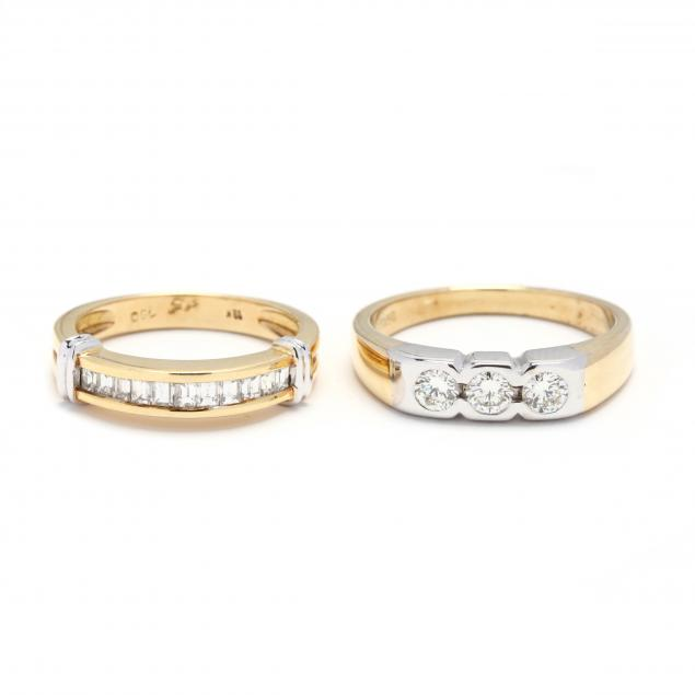 two-18kt-bi-color-gold-and-diamond-rings