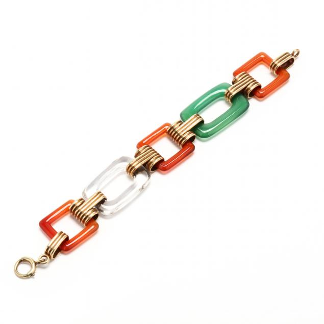 14kt-art-deco-hardstone-bracelet