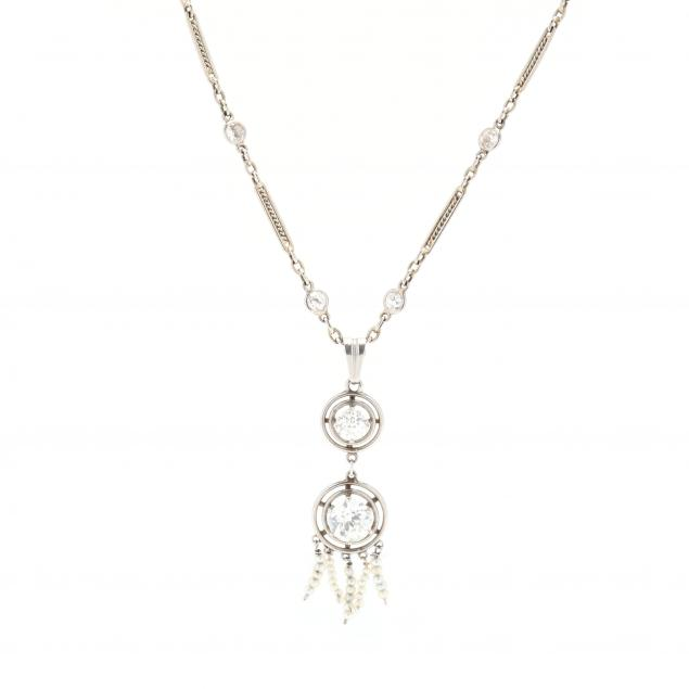 art-deco-18kt-white-gold-diamond-and-seed-pearl-necklace
