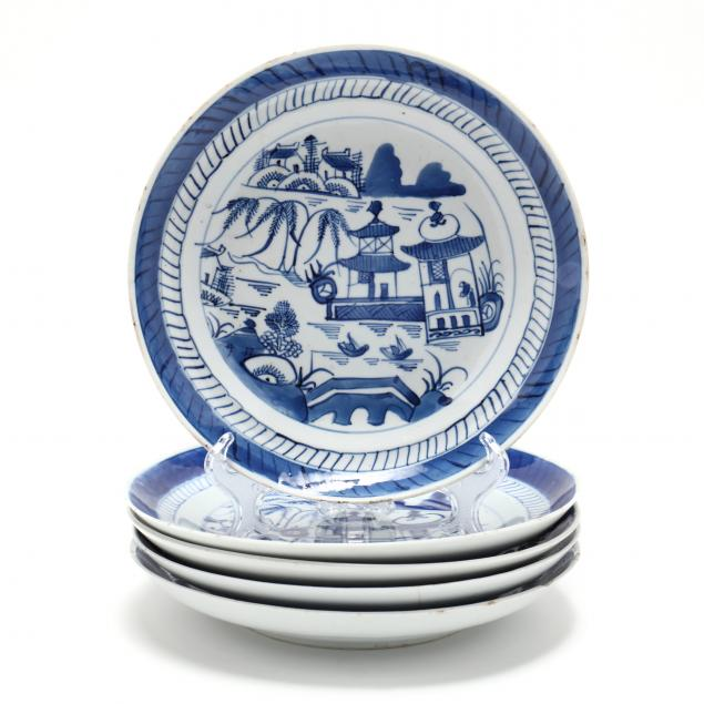 a-group-of-five-chinese-blue-canton-porcelain-plates
