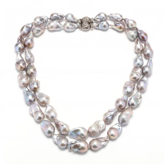 double-strand-baroque-pearl-necklace-with-silver-and-diamond-set-clasp