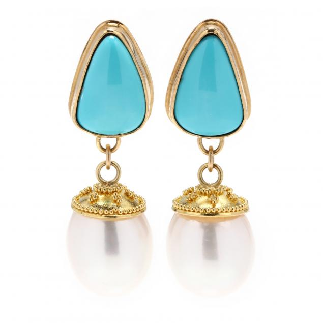18kt-22kt-gold-turquoise-and-pearl-earrings