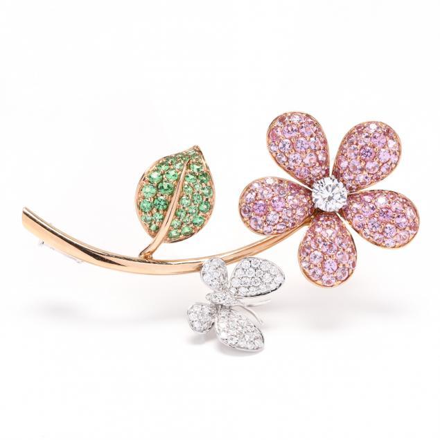 18kt-bi-color-gold-and-gem-set-flower-brooch-signed