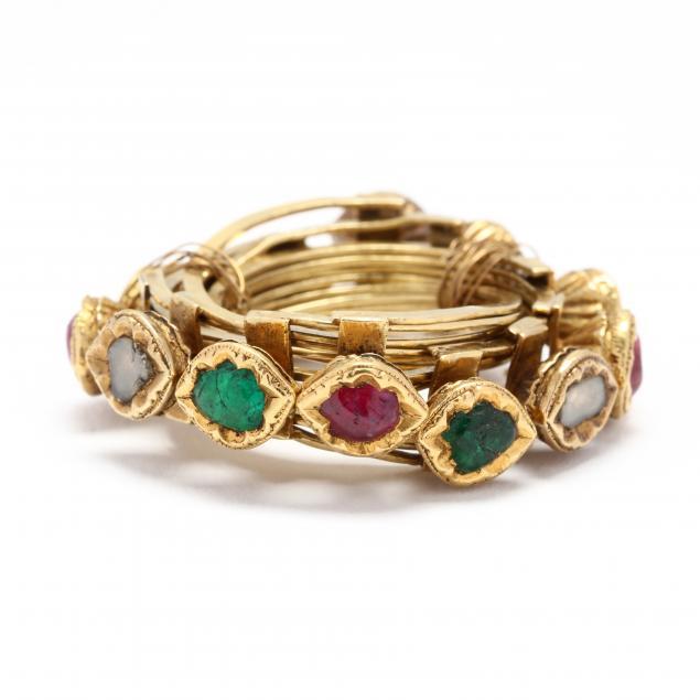 high-karat-gold-and-gem-set-puzzle-wedding-ring-indian