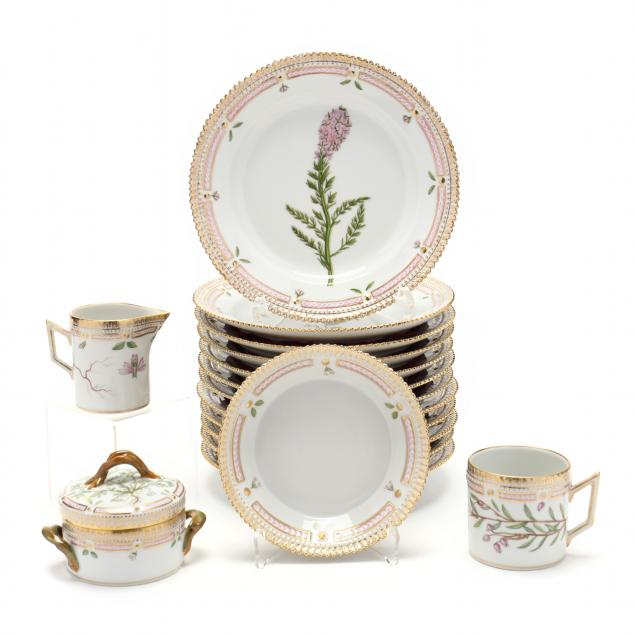 16-pieces-of-royal-copenhagen-i-flora-danica-i-porcelain