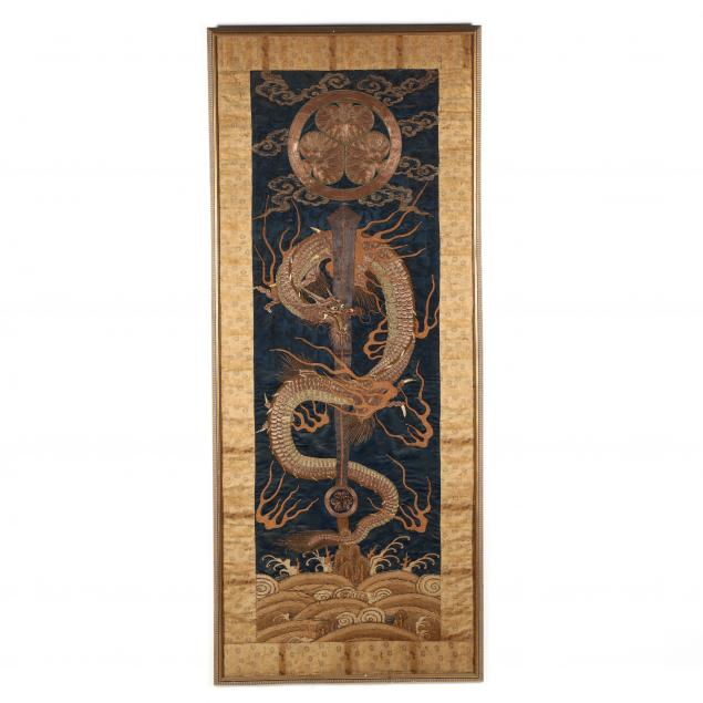 a-large-japanese-meiji-period-dragon-embroidered-panel