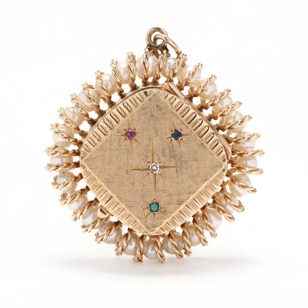 vintage-14kt-gold-and-gem-set-locket-charm-pendant