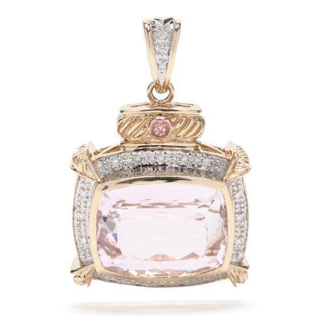 14kt-gold-kunzite-and-diamond-pendant