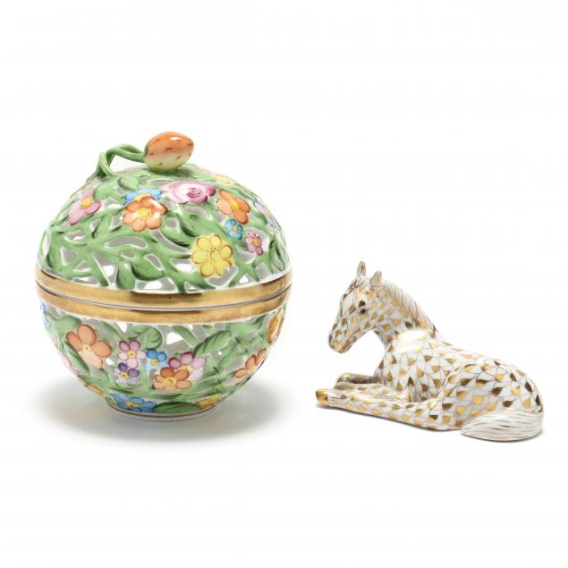 two-herend-porcelain-items