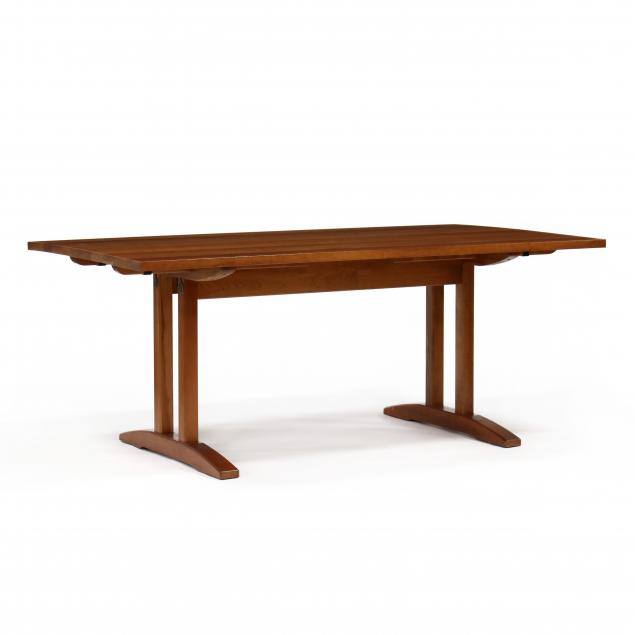 stickley-mission-cherry-trestle-base-dining-table-and-leaves