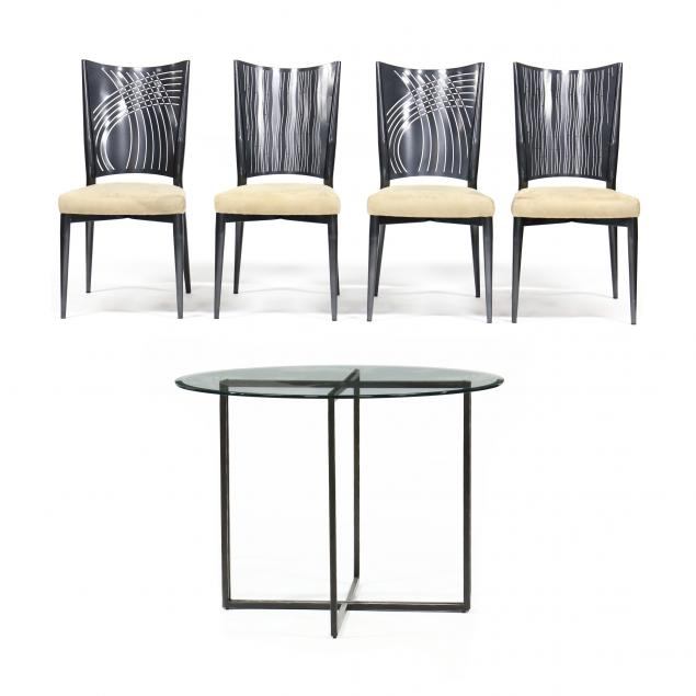 contemporary-steel-and-glass-dinette-set