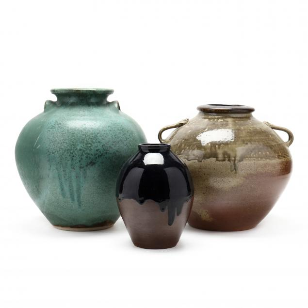 nc-pottery-three-pottery-vases-from-jugtown