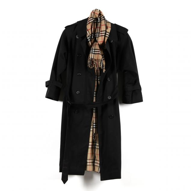 two-burberry-items-a-raincoat-and-scarf